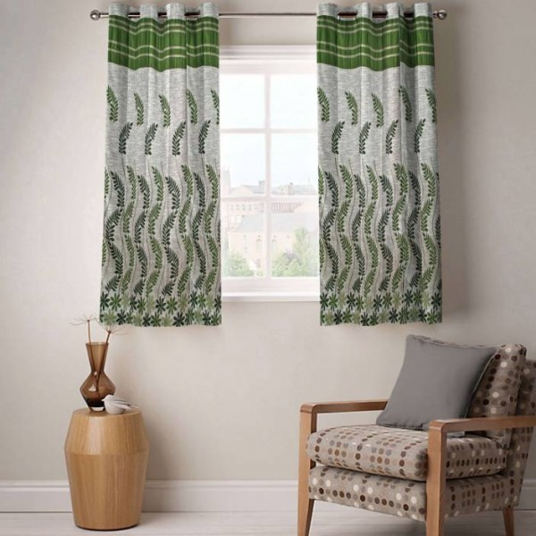 Fabutex Jacquard Window Curtain 150 cm (5 ft) Pack of 2  (Floral Green)