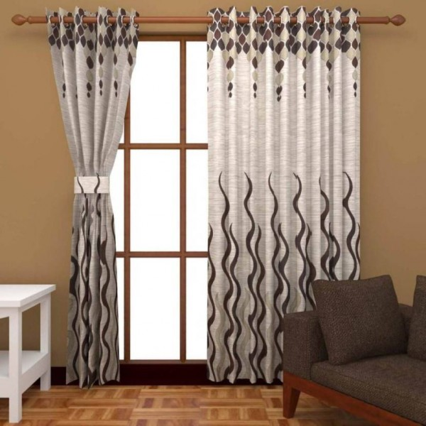 Freshfromloom Jacquard Door Curtain 214 cm (7 ft) Pack of 2  (Abstract Coffee)