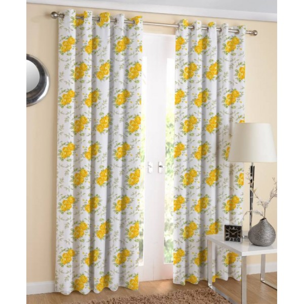 Airwill Cotton Door Curtain 220 cm (7 ft) Pack of 2  (Floral Rose Yellow)