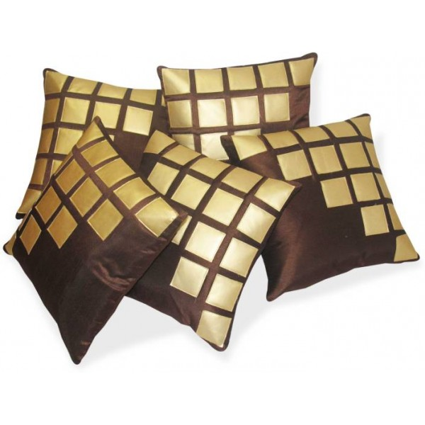 Zikrak Exim Abstract Cushions Cover  (Pack of 5, 40 cm*40 cm, Gold, Brown)