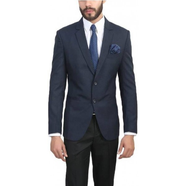 ManQ Solid Single Breasted Wedding, Formal Men's Blazer  (Blue)