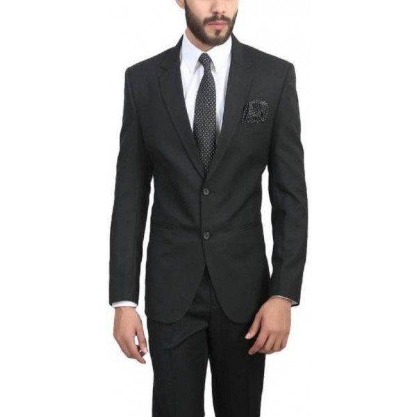 ManQ Solid Single Breasted Wedding, Formal Men's Blazer  (Black)