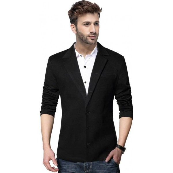 Tripr Solid Single Breasted Casual Men Blazer  (Black)
