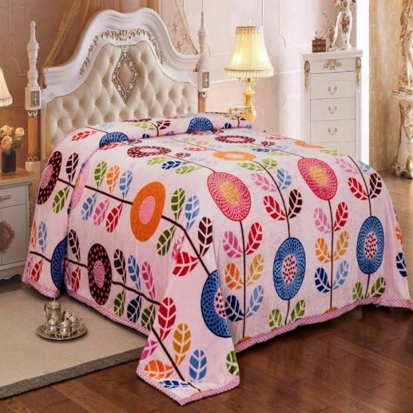Signature Floral Single Blanket Pink  (AC Blanket, 1 Blanket)