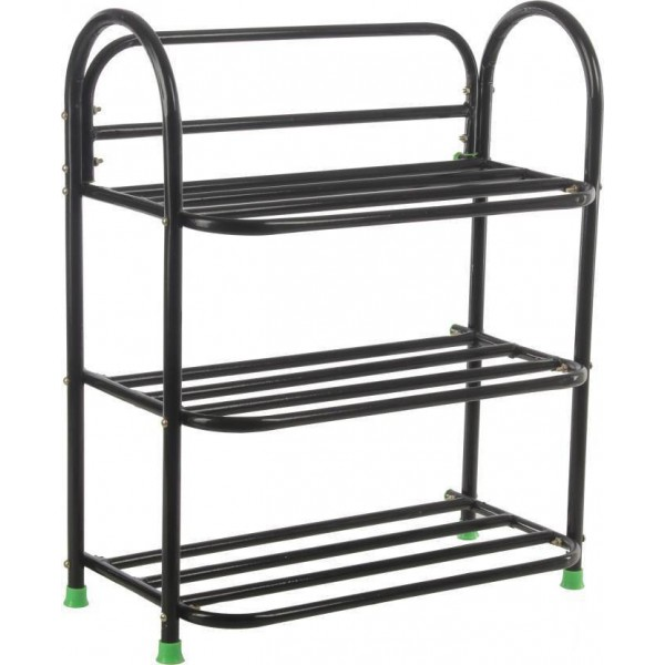 Raj Metal Shoe Stand  (Black, 3 Shelves)