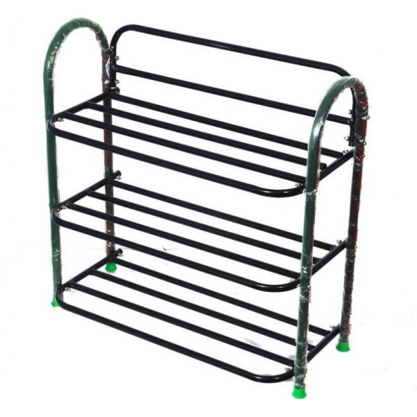 Raj Sturdy Metal Shoe Stand  (Black, 3 Shelves)