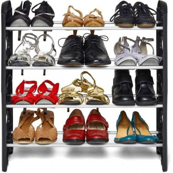 Frazzer Plastic Collapsible Shoe Stand  (Black, 4 Shelves)