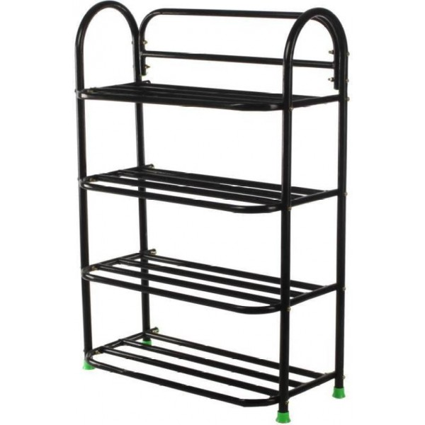 Raj Metal Shoe Stand  (Black, 4 Shelves)
