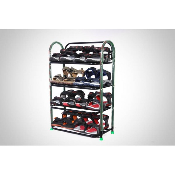 Patelraj Metal Shoe Stand  (Black, 4 Shelves)