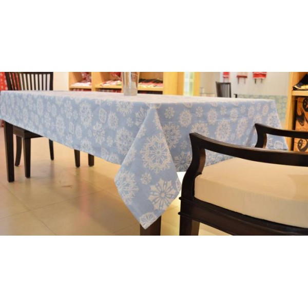 Home Matters Self Design 6 Seater Table Cover  (Blue, Cotton)