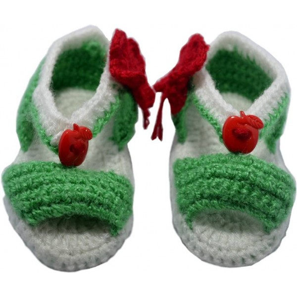 Haastika Woollen 0 to 12 months Booties  (Toe to Heel Length - 10 cm Green)