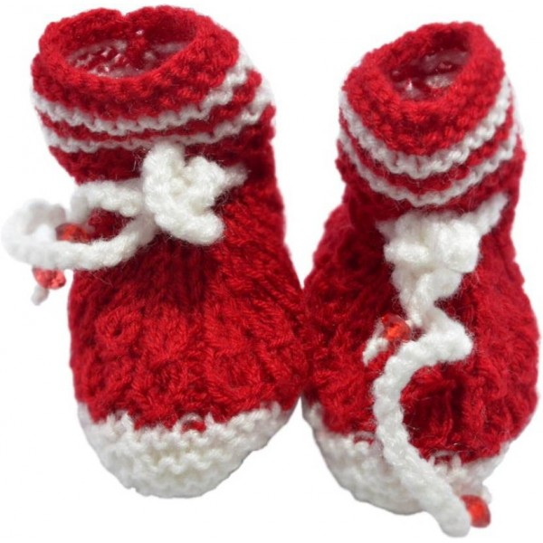 Haastika Woolen 0 to 3 months Booties  (Toe to Heel Length - 10 cm Red)