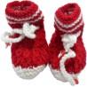 Haastika Woolen 0 to 3 months Booties  (Toe to Heel Length - 10 cm Red)