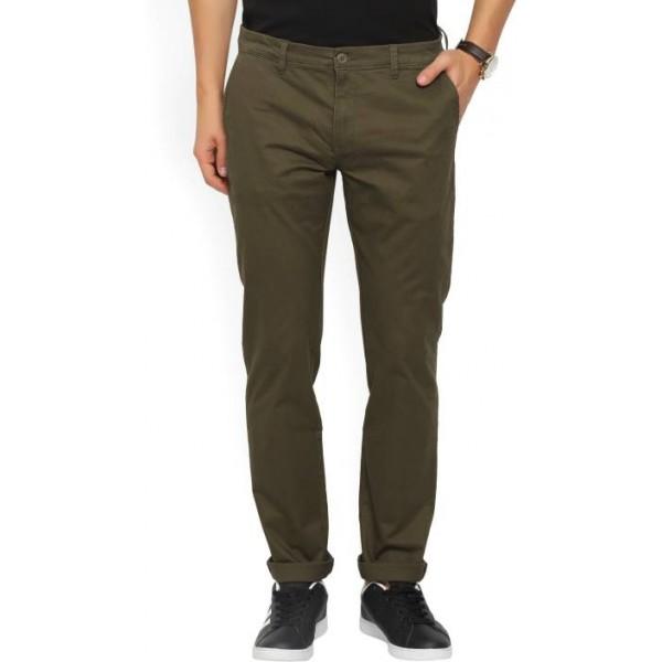 Flying Machine Skinny Fit Men's Dark Green Trousers