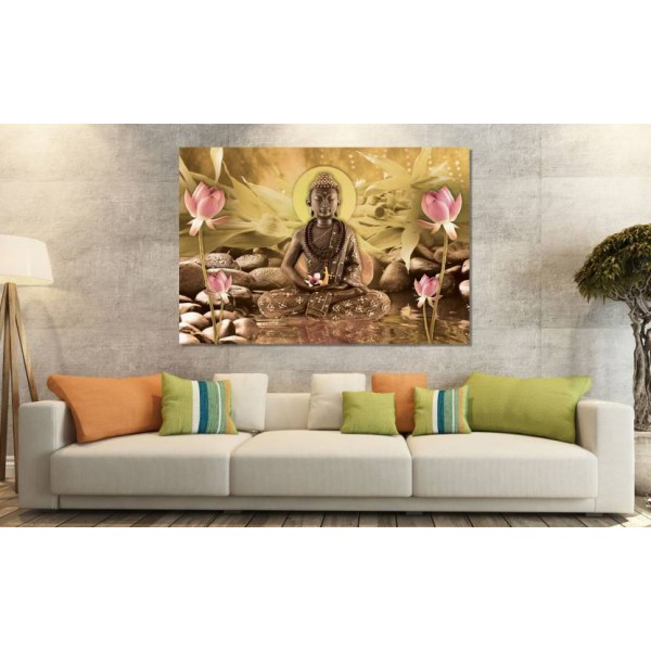 SAF BUDDHA SPARKLE COATED SELF ADHESIVE WITHOUT FRAME Digital Reprint Painting  (24 inch x 36 inch)