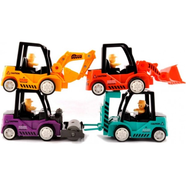 Kidzfan Goods Transporter Friction Toy set | Pull Back Toys | Pack of 4 | Loader, JCB, Roller and Klift  (Multicolor)