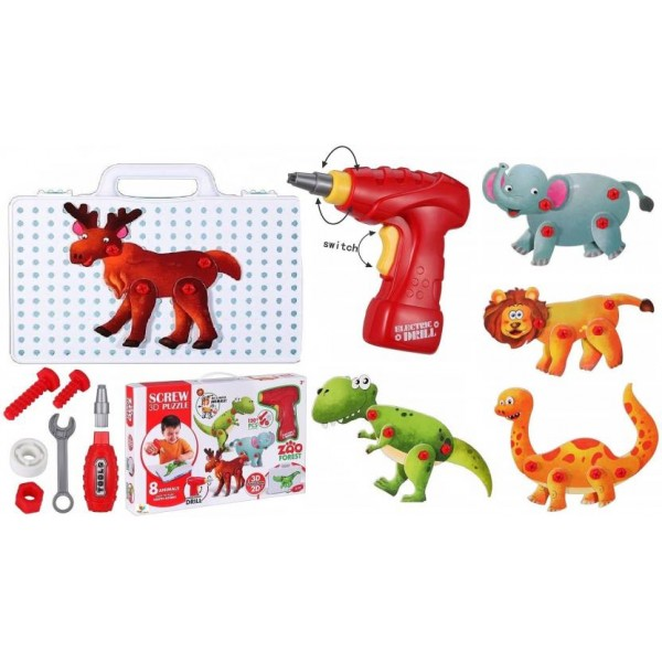 Toys Bhoomi 120 Pieces 3D Puzzles Take Apart Building Blocks Animal STEM Toys for Kids with Drill Tools , Screws