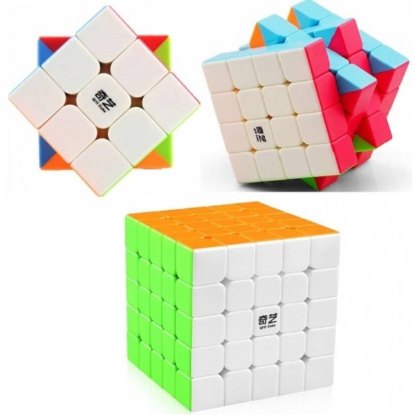 Adichai New Trio Offer of 3 Magic Speed QiYi QiYuan Cubes_3 by 3,4 by 4 & 5 by 5 QiYi Cubes  (3 Pieces)
