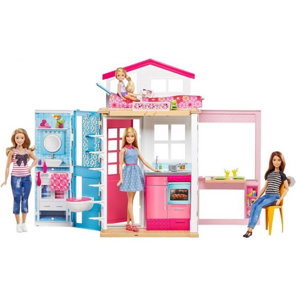 Barbie 2 Story House and Doll  (Multicolor)