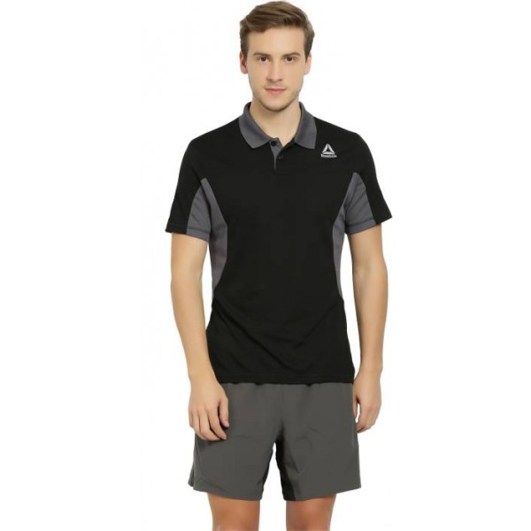 REEBOK Self Design Men's Polo Neck Black, Grey T-Shirt