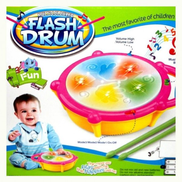 ElectroBot Kids Multicoloured Flash Drum Set With Music and Lights Electronic Touch Flash Visual