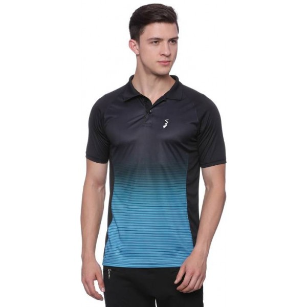 Campus Sutra Printed Men Polo Neck Blue, Black T-Shirt