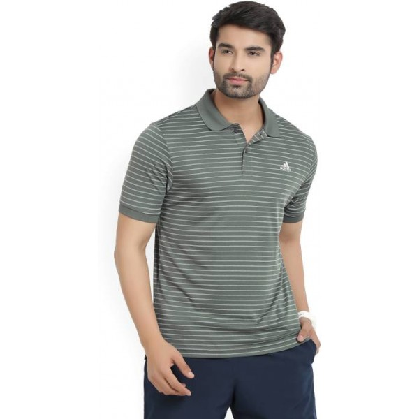 ADIDAS Striped Men's Polo Neck Green T-Shirt