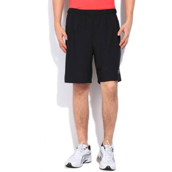 Being Human Solid Men's Black Sports Shorts