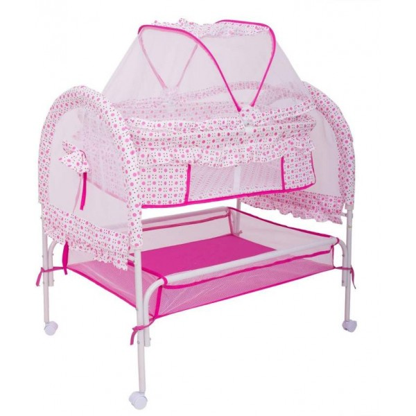 Baybee Comfort Cradle Cot - New Born Baby Swing Cradle with Mosquito Net & Storage Space - Pink  (Pink)