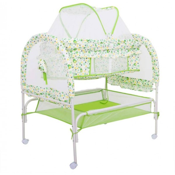 Baybee Comfort Cradle Cot - New Born Baby Swing Cradle with Mosquito Net & Storage Space - Green  (Green)