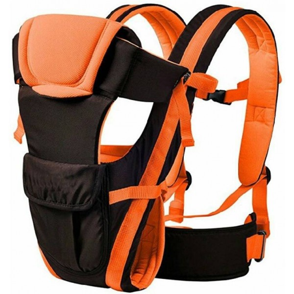 fastped Baby Adjustable Hands-Free 4-in-1 Front Carrier Bag with Head Support and Buckle Straps Baby Carrier  (Orange)