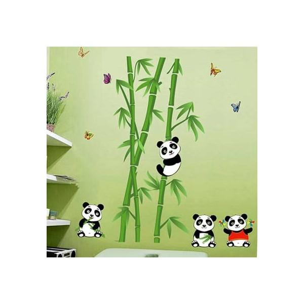 Happy Walls Panda Pals With Lush Green Bamboo Trees  (114 cm X cm 106, Multicolor)