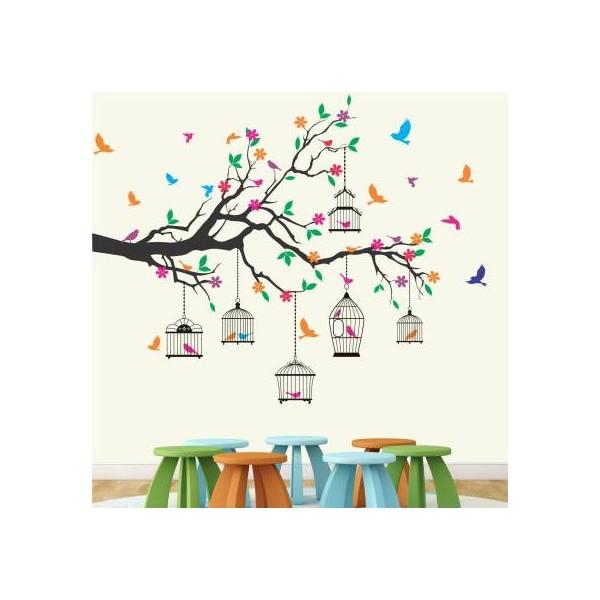 StickMe Nature Tree - Colorful - Birds - Cage - Wall Sticker -SM584-A  (110 cm X cm 130, Multicolor)
