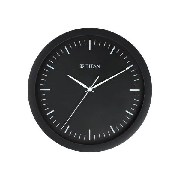 Titan Analog 30 cm X 30 cm Wall Clock  (Black, With Glass)