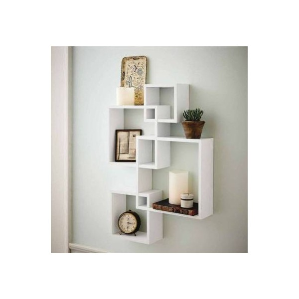 Decorhand Wall Mount Set of 4 White Wall Shelves Storage Rack Shelves Wooden Wall Shelf  (Number of Shelves - 4, White)