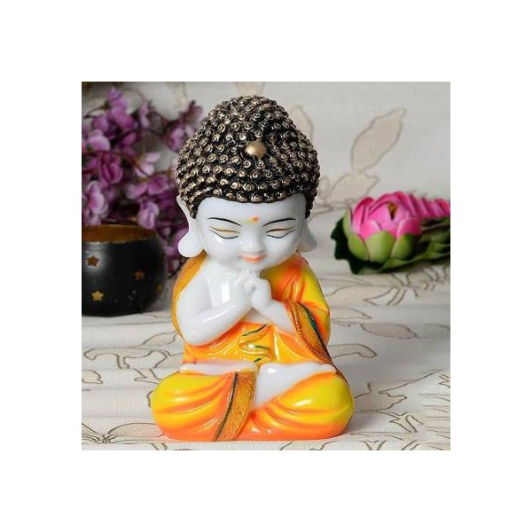 Craft Junction Handcrafted Little Baby Monk Decorative Showpiece - 20 cm  (Polyresin, Multicolor)