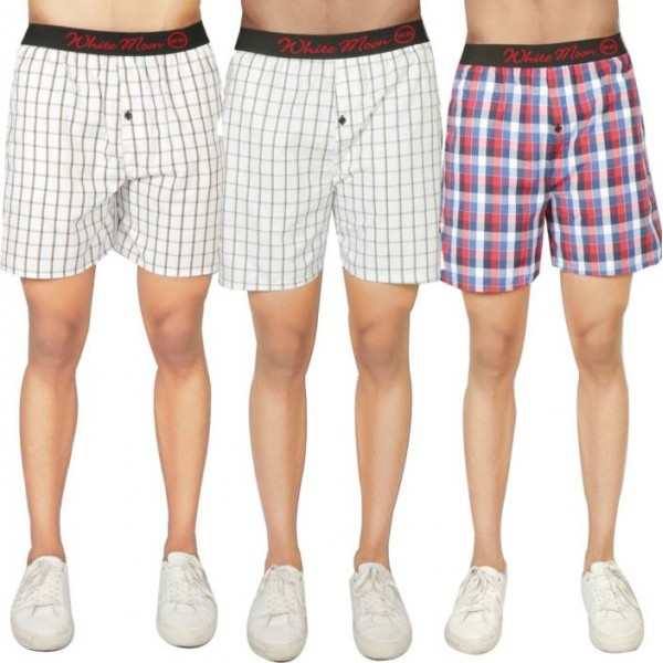 White Moon Checkered Men's Boxer  (Pack of 3)