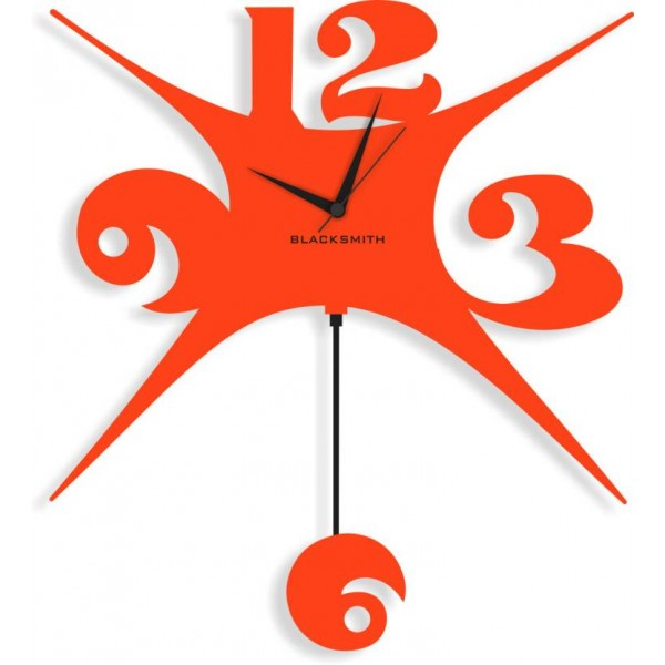Blacksmith Analog Wall Clock  (Orange, Without Glass)