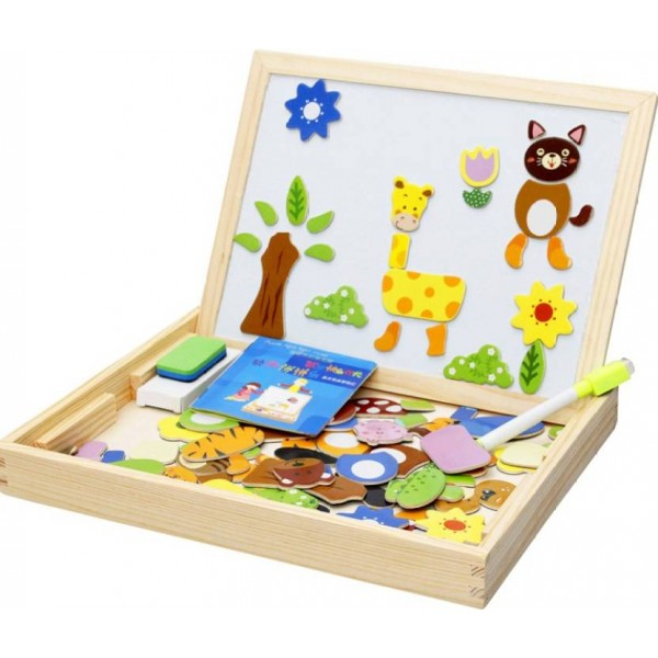 Montez Magnetic Jigsaw Puzzle Two-Sided Whiteboard & Blackboard Educational Wooden Toy  (Multicolor)