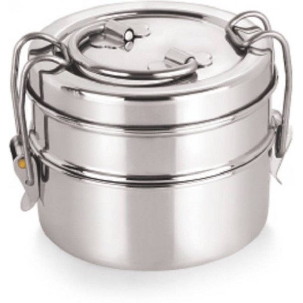 Neelam Stainless steel Lunch box container with lid 7x2 2 Containers Lunch Box  (800 ml)