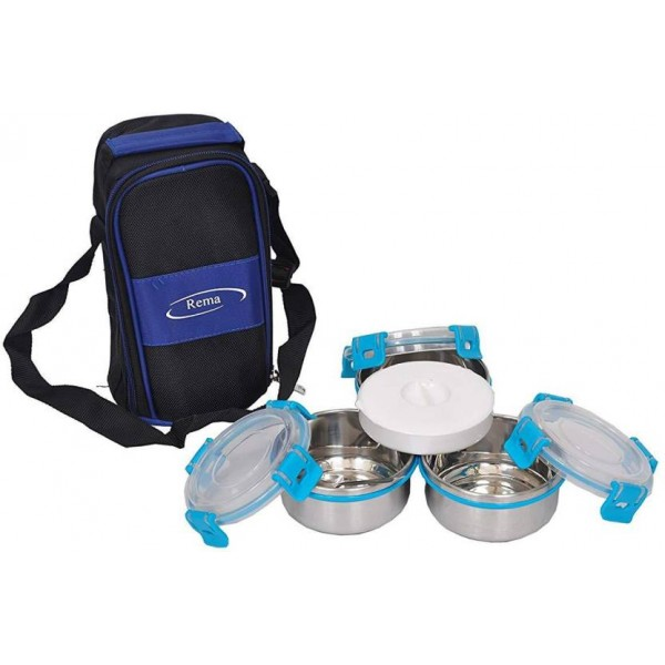 Rema Lunch Box of 4 Stainless Steel Containers with Easy Carrying Cushion Soft Touch Pouch 3 Containers Lunch Box  (480 ml)