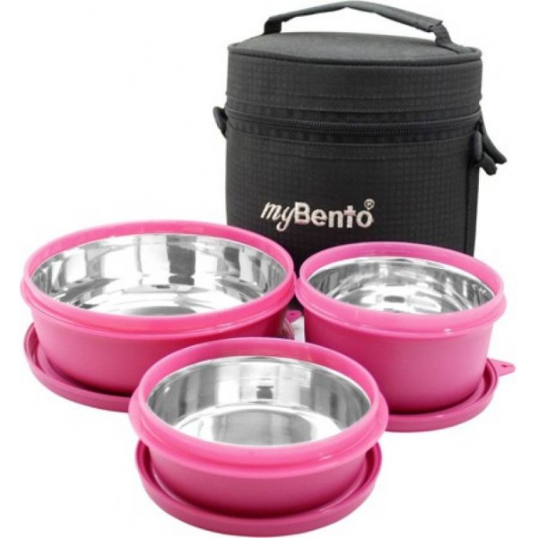 myBento SS TRI-MAX (SS304 Stainless Steel Inbuilt Lunch Box Set) 3 Containers Lunch Box  (1350 ml)