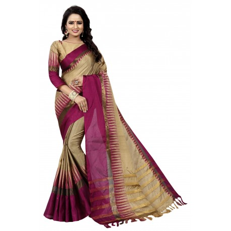 aagam fashion Pink Cotton Saree