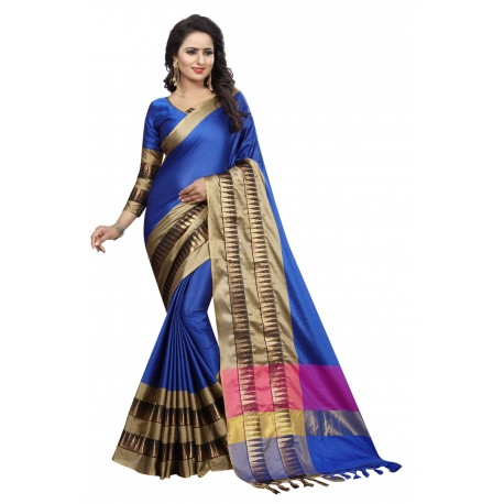 Lake Prints Blue Cotton Saree