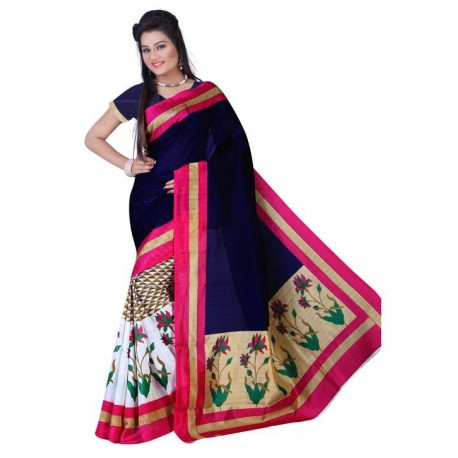 Shri Ambe Sarees Navy Cotton Saree