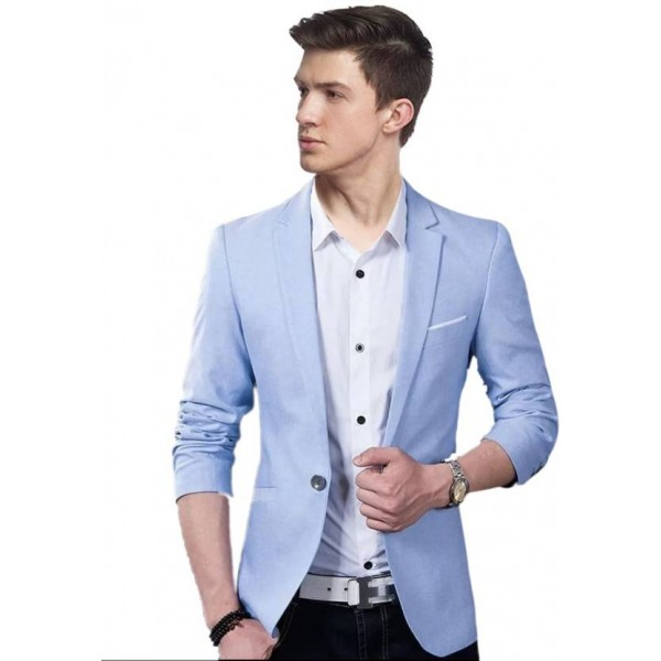 Personality plus Solid Single Breasted Wedding, Casual, Party Men's Blazer  (Blue)
