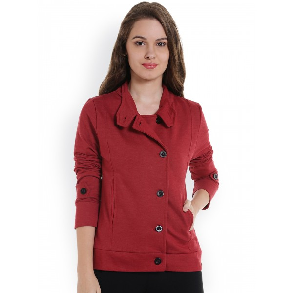 Campus Sutra Women Maroon Solid Jacket