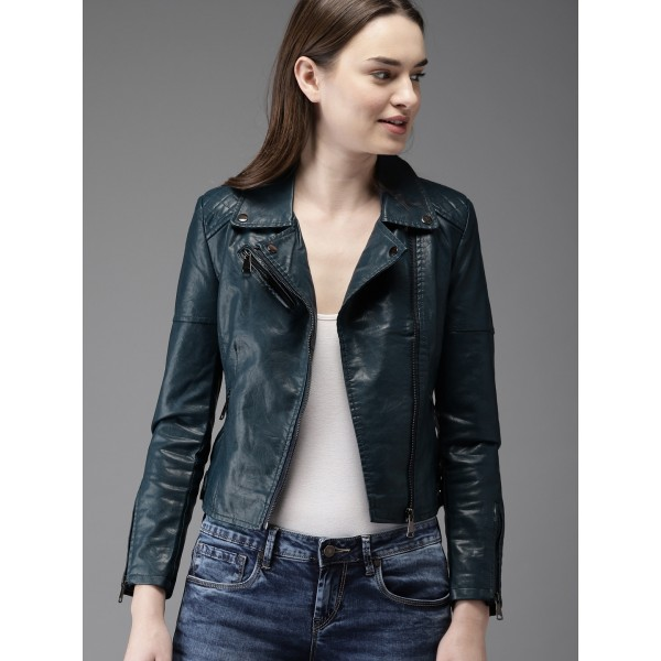 Moda Rapido Women Teal Blue Solid Biker Jacket
