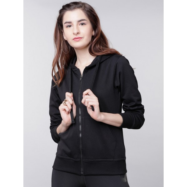Tokyo Talkies Women Black Solid Hooded Sweatshirt