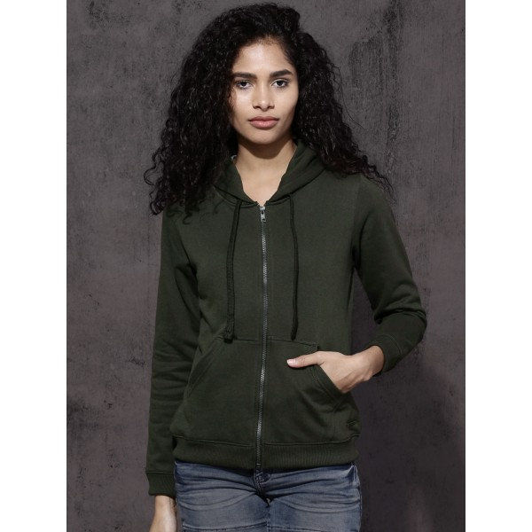 Roadster Women Olive Green Solid Hooded Sweatshirt